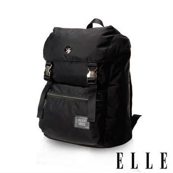 【ELLE HOMME】獨特巴黎鐵塔設計休閒風格 機能後背包(黑 EL83881-02)