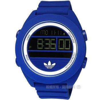 adidas 愛迪達 / ADH2910 / Santiago玩色派對矽膠液晶電子腕錶 靛藍色 48mm