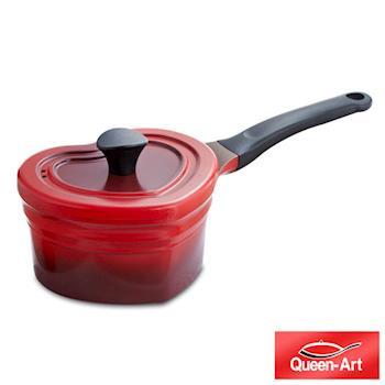 韓國Queen Art鑄造鑄造陶瓷愛心長柄湯鍋19CM(1鍋+1蓋)朝霞紅