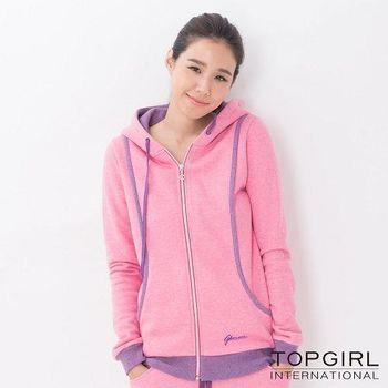 【TOP GIRL】亮麗女孩刷毛連帽針織外套-女(麻花桃)