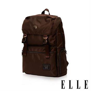 【ELLE HOMME】獨特巴黎鐵塔設計休閒風格 機能後背包(咖啡 EL83882-45)