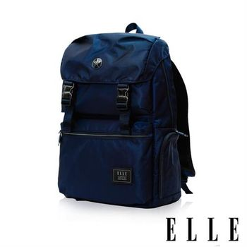 【ELLE HOMME】獨特巴黎鐵塔設計休閒風格 機能後背包(藍色 EL83882-42)