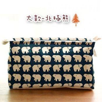 窩自在★日式印花方形棉麻束口收納籃-北極熊