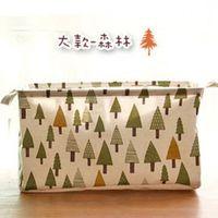 窩自在~日式印花方形棉麻束口收納籃 ^#45 森林