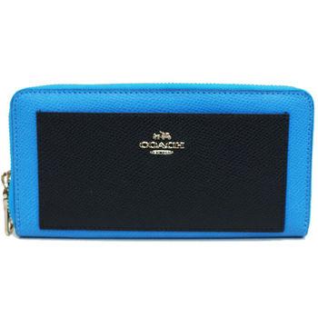 【COACH】馬車系列牛皮金色立體LOGO前口袋ㄇ型拉鍊長夾(配色藍)