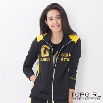 【TOP GIRL】撞色拼接立領針織印花外套-女(神祕黑)