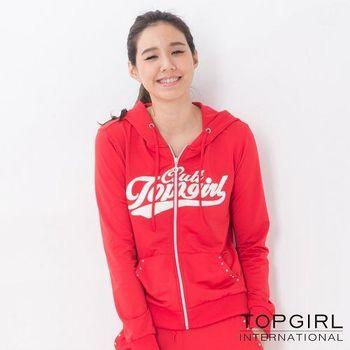 【TOP GIRL】原彩字母連帽POLY針織外套-女(火熱紅)