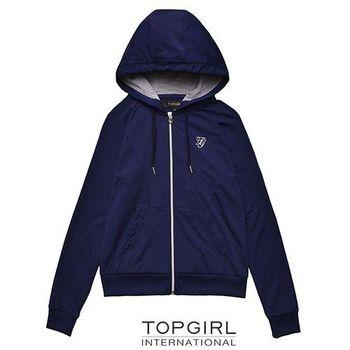 【TOP GIRL】純色極簡連帽POLY針織外套-女(丈青藍)