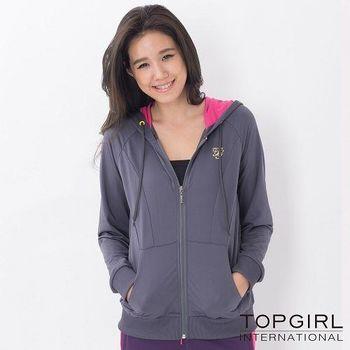 【TOP GIRL】純色極簡連帽POLY針織外套-女(鐵灰色)