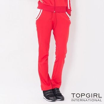 【TOP GIRL】跳色星星連帽POLY針織長褲-女(火熱紅)