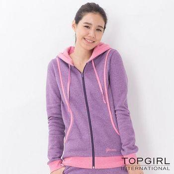 【TOP GIRL】亮麗女孩刷毛連帽針織外套-女(麻花紫)