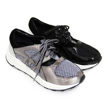 BIS-VITAL 立體透視紗網異材質拼接金蔥綁帶金屬牛皮厚底休閒鞋-鐵灰色、黑色