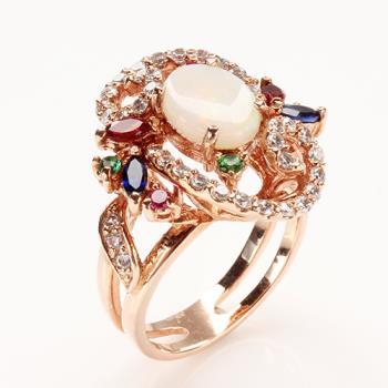 【寶石方塊】紅飛翠舞天然蛋白石戒指-925純銀飾
