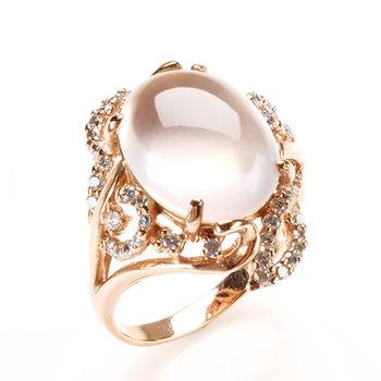 【寶石方塊】天香國色天然星光粉水晶戒-925銀飾