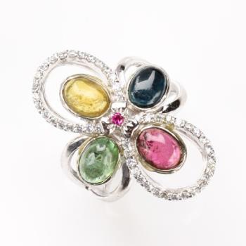 【寶石方塊】千嬌百媚天然碧璽戒指