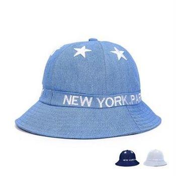 【米蘭精品】遮陽帽牛仔漁夫帽戶外防曬星星刺繡73db28