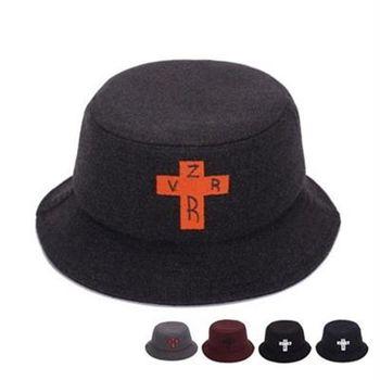 【米蘭精品】遮陽帽毛呢漁夫帽十字架刺繡休閒時尚73db27