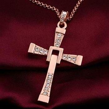 【米蘭精品】鍍18K金項鍊純銀鑲鑽吊墜十字架歐美時尚經典73ce4