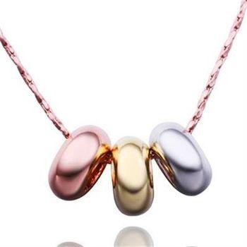 【米蘭精品】鍍18K金項鍊純銀吊墜彩色圈圈時尚熱銷73ce5