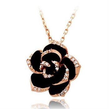 【米蘭精品】鍍18K金項鍊純銀鑲鑽吊墜時尚熱銷玫瑰花精美73ce11