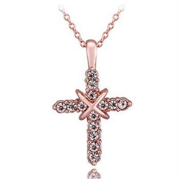 【米蘭精品】鍍18K金項鍊純銀鑲鑽吊墜經典十字架歐美時尚73ce43