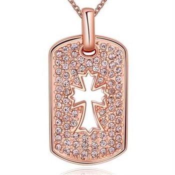 【米蘭精品】鍍18K金項鍊純銀鑲鑽吊墜方牌十字架歐美風時尚73ce61