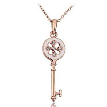 【米蘭精品】鍍18K金項鍊純銀鑲鑽吊墜鑰匙造型時尚精美73ce68