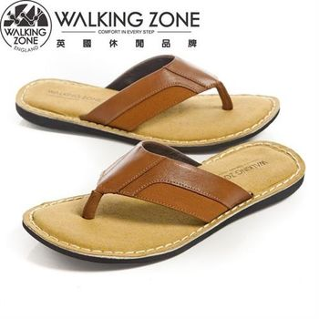 WALKING ZONE舒適氣墊 皮革夾腳拖鞋 棕(另有黑)