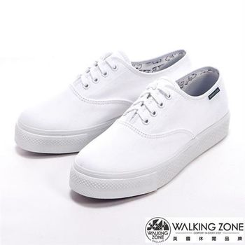 WALKING ZONE 素面純棉帆布增高女鞋-白