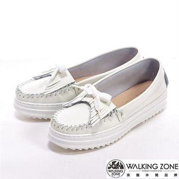 WALKING ZONE 休閒蝴蝶結增高鬆糕女鞋-白