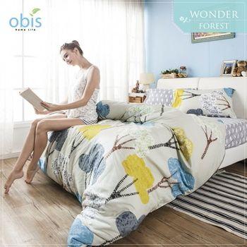 【obis】100%純棉單人3.5*6.2尺床包兩用被組-奇幻森林