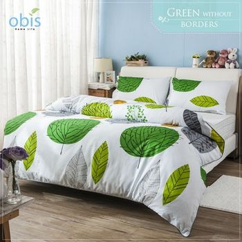 【obis】100%純棉單人3.5*6.2尺床包兩用被組-綠野芳蹤