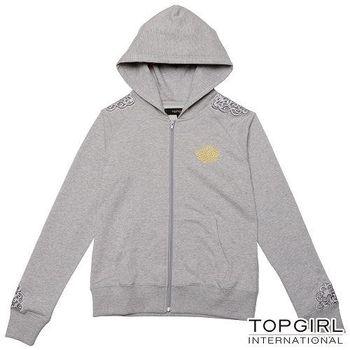 【TOP GIRL】蕾絲拼接針織連帽外套 (共二色)