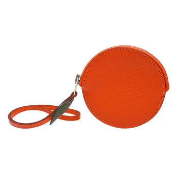 HERMES 經典山羊皮橘子造型掛腕零錢包(橘色)