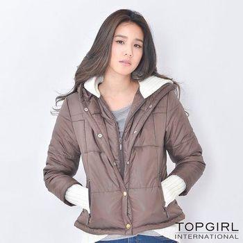 【TOP GIRL】假兩件舖棉連帽外套 (共二色)