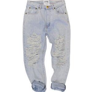 OneTeaspoon BRANDO SUPER BAGGIES 牛仔褲 OTS - 懷舊藍/刷白牛仔/刷破 - 女裝