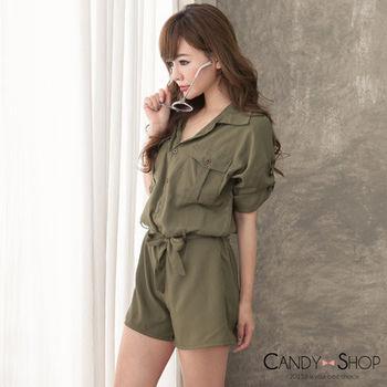Candy小舖 七分袖襯衫領綁腰連身褲 - 軍綠色