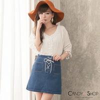Candy小舖 五分袖V領流蘇寬鬆棉麻短洋裝 ^#45 白