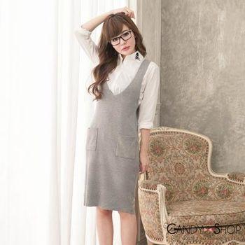 Candy小舖 V領針織雙口袋貼身背心洋裝 - 灰色