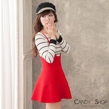 Candy小舖 針織吊帶後拉鍊連身傘狀裙 - 紅色