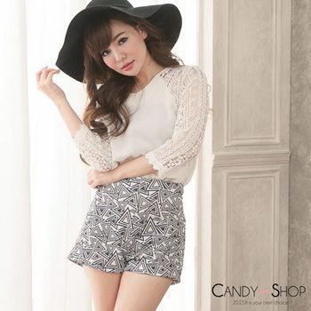 Candy小舖 蕾絲拚袖幾何復古高腰套裝