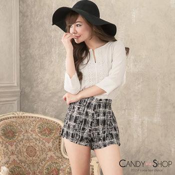Candy 小舖 7分袖 V領前車蕾絲 高腰短褲 套裝 - 黑