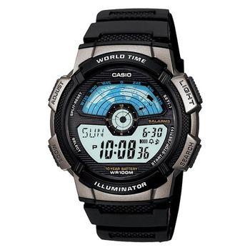 CASIO 閃電世界戰士運動電子錶(膠帶/銀灰框)AE-1100W-1A