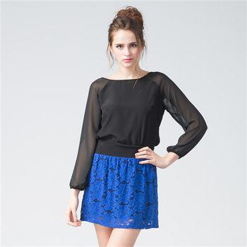 IFOREST 蕾絲緹花俏麗短裙(藍色)15546