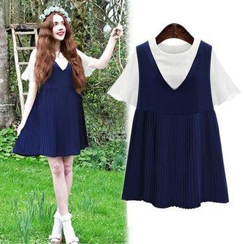(現貨+預購 RN-girls)-歐美夏裝新款寬鬆顯瘦兩件式百摺連身裙