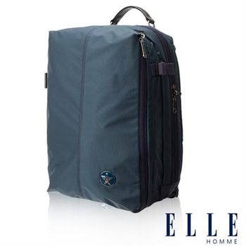 【ELLE HOMME】時尚巴黎風格14吋筆電扣層輕量防潑水休閒後背包(淺藍色 EL83841-08)