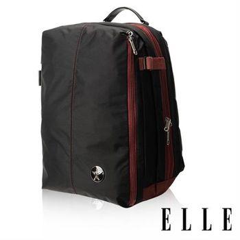 【ELLE HOMME】時尚巴黎風格14吋筆電扣層輕量防潑水休閒後背包(黑色EL83841-02)