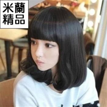 【米蘭精品】假髮整頂假髮中長假髮齊瀏海甜美可愛捲髮