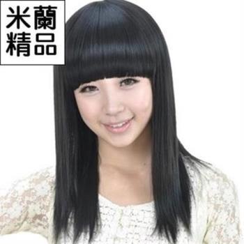 【米蘭精品】假髮整頂假髮中長假髮清新可愛齊瀏海直髮