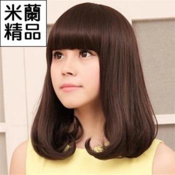【米蘭精品】假髮整頂假髮中長假髮甜美可愛齊瀏海內彎